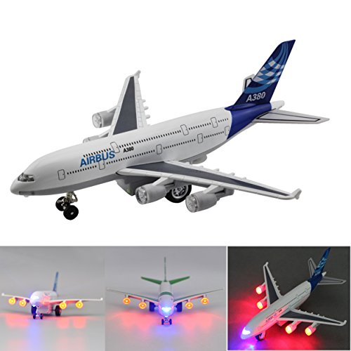Moleya Kids Toy Plane 7.8 Inch Airbus Emirates A380 Airplane Baby Pull Back Electric Models Planes with Lights and Sounds(Blue)