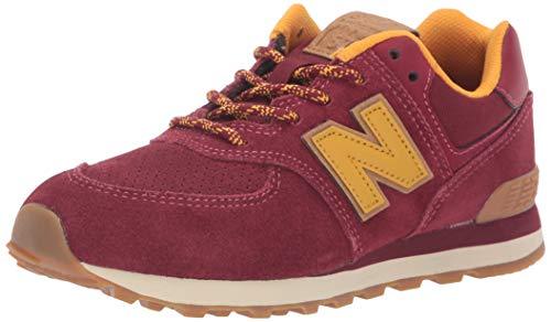 New Balance Boys' Iconic 574 Sneaker, Mercury Red/Gold Rush, 4 M US Toddler