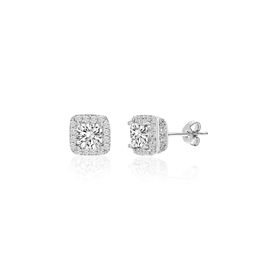 MIA SARINE 1 1/2 Cttw Square Emerald Shaped Cubic Zirconia Stud Bridal Gift Earrings for Women in Rhodium Plated 925 Sterling Silver
