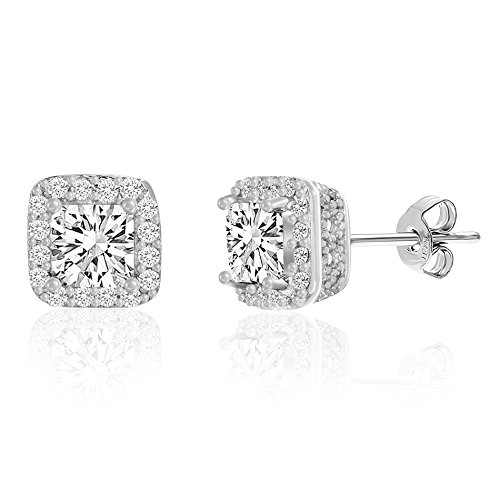 Mia Sarine Womens Cushion Shaped Cubic Zirconia Stud Earrings in Rhodium over Sterling Silver