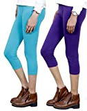 Indistar Big Girl's Cotton Capri Combo-2 Large Blue::Purple