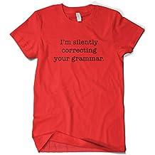 Cybertela Men's Black I'm Silently Correcting Your Grammar T-Shirt