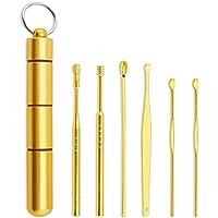 Tomshin 6 unidades/conjunto de kits de limpador de ouvido de aço inoxidável removedor de cera para orelha picker…