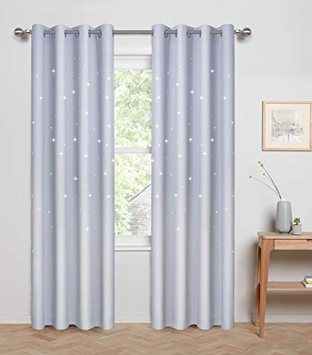 Anjee Laser Cutting Out Stars Blackout Curtains for Kids Room, Elegant Grommet Window Curtains for Room Darkening and Noise Blocking (2 Panels, W52 x L84, Greyish White) from Anjee
