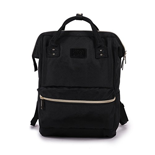 Lily & Drew Nylon Casual Travel Daypack Backpack Top Loading (V3 Small Style 2 Black)