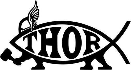 (Thor Fish Evolution Internet Meme Graphic Car Truck Window Decor Decal Sticker - Die cut vinyl decal for windows, cars, trucks, tool boxes, laptops, MacBook - virtually any hard, smooth surface)