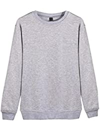 Men's Pullover Sweatshirt, Fashion Cotton Solid Long Sleeve Fleece Crew Tops