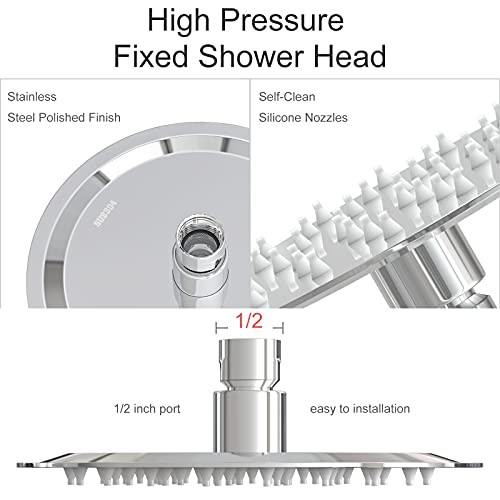 Anlisnut 6 inch High Pressure Rain Shower Head,Copper Screw Joint, Integrally Formed Swivel Ball,304 Stainless Steel Fixed Showerhead (Polished Finish)