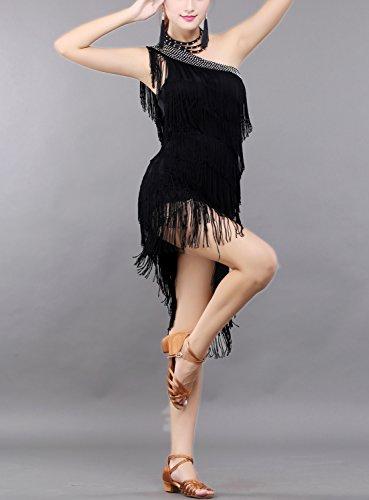Abiti cha Slitta Zumba Danza Prestazioni Vestiti Jazz Jive Bachata Samba Cha Neri 5xfwtqTO