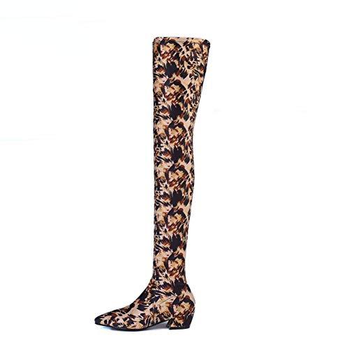 Zip Femme EU 35 Boots Stretch genou du Au Stretch Cuisse Bottes dessus Marron Taille Boots Zpl 39 FSgwERqxPg