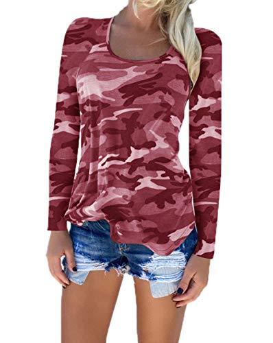 Maglietta Lunga Felpe Donne Autunno Primavera Moda Shirts e Vino Maglie Casual Rotondo Tops Blusa Jumper Blouse Mimetico T Collo Rosso a Maglioni Manica TqxUvv