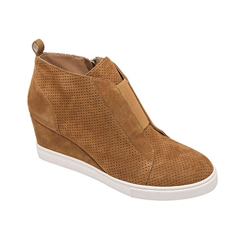 - Linea Paolo Felicia | Platform Wedge Bootie Sneaker Toffee Perforated Suede 9.5M