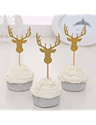 Giuffi Set of 24 Golden Antler Cupcake Toppers Theme Party Decors - by