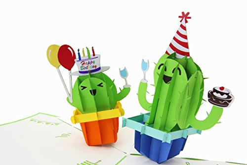 PopLife Green Cactus Pop up Happy Birthday Card - Birthday Greeting Card,...
