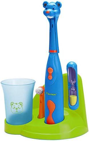 """Bestron Elektrische Kinderzahnbürste """"Bobby Bear mit Zahnputzbecher, Sanduhr und Ständer, Batteriebetrieben, Blau"""