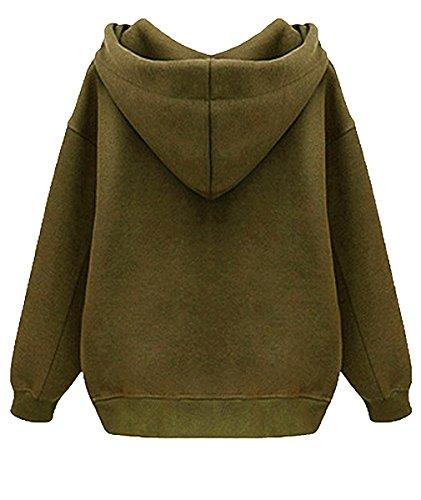 DJT-Sudadera Clasica para Mujer con Capucha y Cremallera Sweatshirt Pullover Verde Oliva