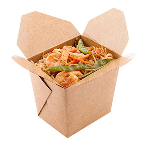 16-OZ Square Noodle Take Out Food Container: Perfect for Take Out Restaurants - Kraft Brown - Easy Fold and Close - Disposable and Recyclable - 200ct - Restaurantware ()