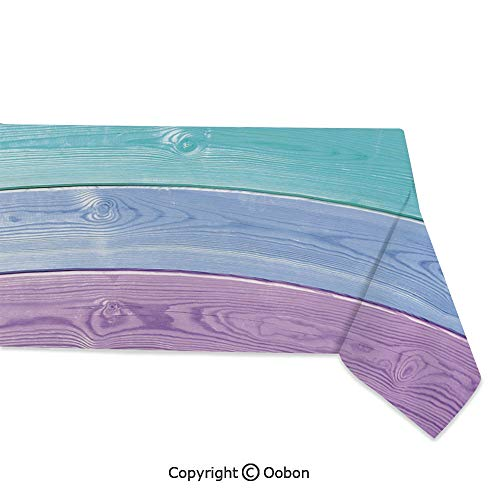 Rectangular Billiard Shade - Space Decorations Tablecloth, Wooden Planks in Rainbow Colors Rural Rustic Home Cottage Theme Summer Shades Print Decorative, Rectangular Table Cover for Dining Room Kitchen, W60xL104 inch