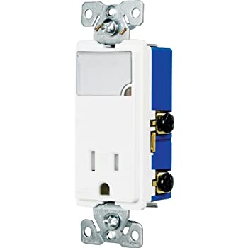 Eaton TR7735W 3-Wire Receptacle Combo Nightlight with Tamper Resistant 2-Pole, White