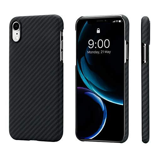 PITAKA Slim Case Compatible with iPhone XR 6.1, MagCase Aramid Fiber [Real Body Armor Material] Phone Case,Minimalist Strongest Durable Snugly Fit Snap-on Case - Black/Grey(Twill)