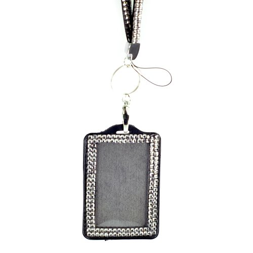 (New Shimmering Bling Rhinestone Id Badge Lanyard with Detachable Bling Rhinestone Lined Id Holder, Gifts, Parties, Special Events, Work, or Play (Gray))