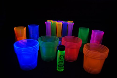96 Piece Blacklight Reactive Shot Glass Assortment Package- FREE GIFT INCLUDED! by DIRECTGLOW LLC