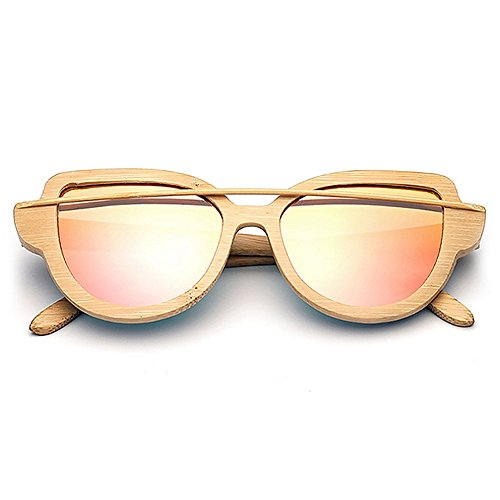 de Marco de hombres de UV de simple de madera sol Ojos de las sol mujeres gafas gafas protección gato gafas para gafas colorida de Gafa Lente Rosado sol de conducción polarizadas bambú de sol Unisex Retro de wtpdPt