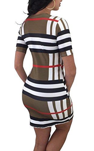 HannahZone Womens Casual Stripe O-Neck Short Sleeve Color Block Bodycon Midi (Color Block Short Sleeve Dress)