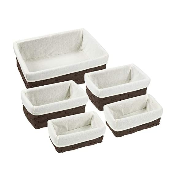 Juvale Wicker Basket, Decorative Storage Baskets (Brown, 5 Piece Set) - WICKER BASKETS: This set of 5 wicker baskets are the ideal utility and storage baskets that look great in any room and the varying sizes make this set versatile to store your supplies such as magazines, clothes, toys, craft supplies, linens, and school supplies PERFECT FOR: These baskets stack inside of each other allowing for convenient and easy storage when not in use and are convenient storage bins for drawers, shelves, closets, desks, and even the kitchen HIGH QUALITY: Made with quality woven material that is sturdy and durable along with soft cloth inside for a modern design - living-room-decor, living-room, baskets-storage - 41Nr8HmpckL. SS570  -