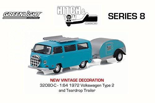 Volkswagen Type 2 Bus - Greenlight Volkswagen Type 2 Bus Blue and Teardrop Trailer, Turquoise 32080C - 1/64 Scale Diecast Model Toy Car