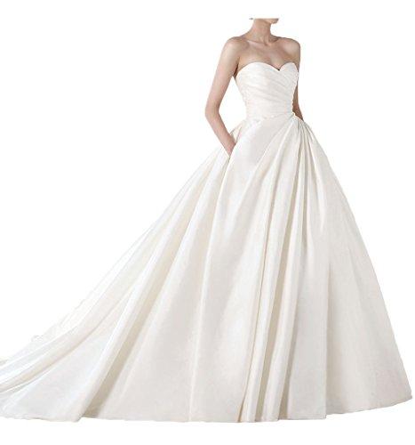 Prom Style Princess Satin traegerlos Brautkleider lang Schleppe Bandeau Hochzeitskleider Prinzessin Brautmode