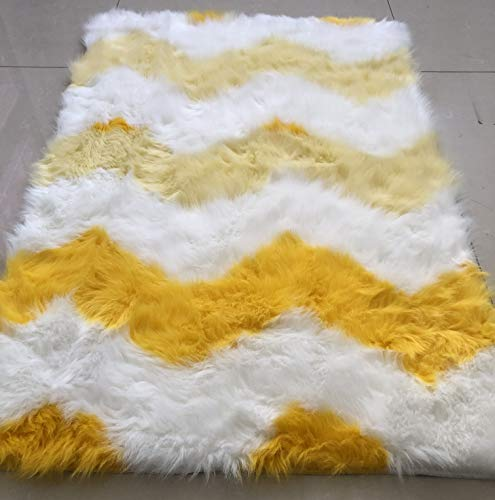 3 Foot Round Bench - Super Soft Faux Fur Rug Fake Sheepskin White & Yellow Sofa Couch Stool Casper Vanity Chair Cover Rug/Solid Shaggy Area Rugs for Living Bedroom Floor Area Shag Rug (3' Round, Yellow)