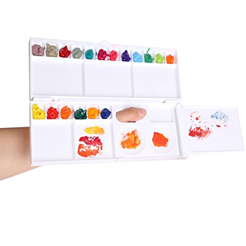 Transon Watercolor Plastic Folding Paint Palette Box 26 Wells for Watercolor,Gouache and Oil Paint with a Foldout Mixing Area and 1 Paint Brush (Plastic Watercolor)