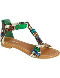 GIGI 92 Gladiator Tribal Decorated Flat Sandals Green