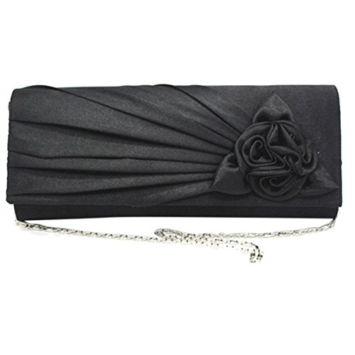 Wedding Black Party Clutch Bags Women's Rose Pleated Solid Evening Satin Purse ABage fZ1Cq7w1