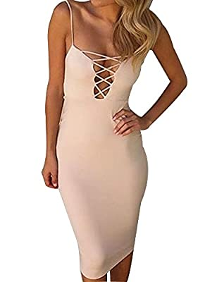 Allegrace Womens Summer Sexy Strap Criss Cross Bodycon Party Evening Dresses