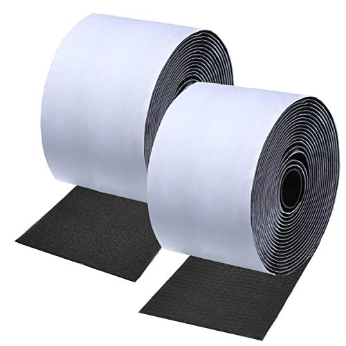 Self Adhesive Long Hook and Loop Strips with Adhesive Tape Nylon Fabric Fastener Fastener Sticky for Couch Cushions, Guitar Pedal, Cable Management and Crafts Projects 11CM (4.3 Inch) Wide 2M