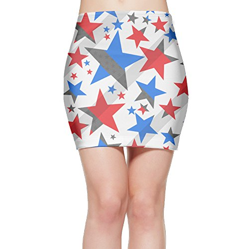 Patriotic Red White And Blue Stars Womens Mini Bodycon Skirt