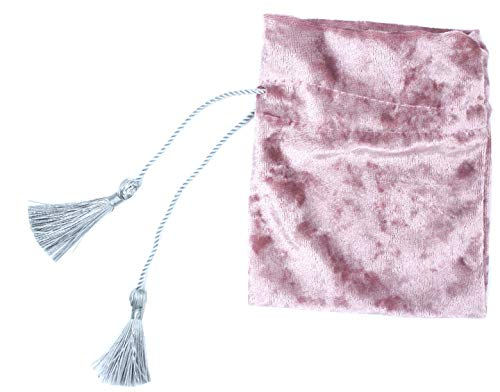 5PCS Tassel-Drawstring Velvet Pouches in Different Colors for Gift, Coin, Lipstick, Mirror, Jewelry (Pink)