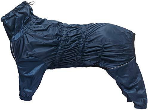 Morezi Chubasquero para perros con cuello alto impermeable para perros reflectante de cuatro patas traje de lluvia para cachorros pequenos y medianos mascotas - azul marino - XXXL