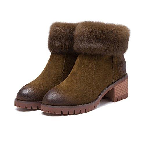 Talon Chaussures Bottes Bloc Femmes Hiver Su Inconnu x61IBB