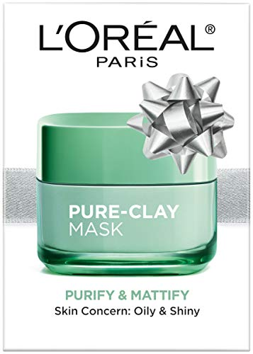 LOréal Paris Skincare Pure-Clay Face Mask with Eucalyptus for Oily and Shiny Skin to Purify and Matify, Holiday Gift, 1.7 oz.