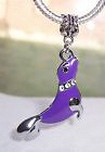 Blazers Jewelry 1985 Purple Seal Rhinestone Beach Sea Life Oversize Dangle Bead fits Charm Bracelets