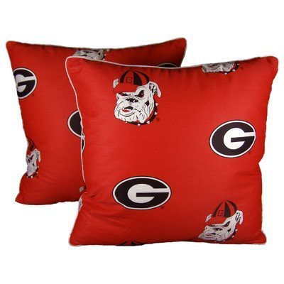 College Covers Georgia Bulldogs Decorative Pillow, 16'' x 16'', Includes 2 Decorative Pillows by College Covers