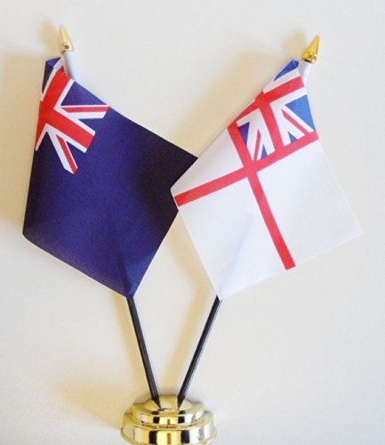 Royal Blue Ensign and Royal Navy White Ensign Friendship Table Flag Display 25cm (10'')