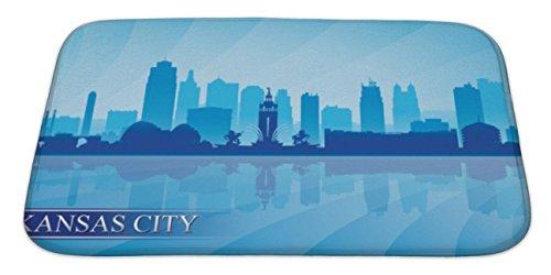 Gear New Bath Mat For Bathroom, Memory Foam Non Slip, Kansas City Skyline Silhouette, 34x21, - Carpet Kansas City Tiles