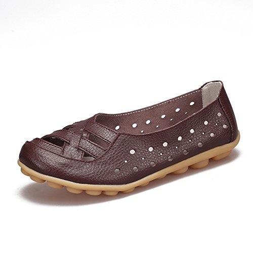 Mocassino Da Donna Traspirante Da Donna Traspirante Scarpe Da Passeggio Piatte Slip-on Pantofole Marrone Scuro