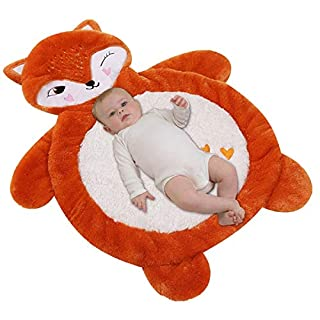 Plush Fox Tummy Time Mat, Ultra Soft Stuffed Animal Play Mat, Large Enough 33.5x27in Padded Baby Mats for Infant Play Home Floor Or Travel, Orange, White