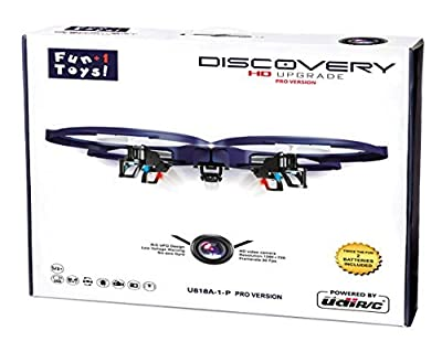 UDI U818A-1-P2 (PRO HD) Discovery 2.4GHz 4 CH 6 Axis Gyro RC Quadcopter with HD Camera (Resolution 1280x720p) + (2) 3.7V 500mAh batteries + 4 GB Micro SD Memory Card! Headless Mode + Return Home by Fun+1 Toys