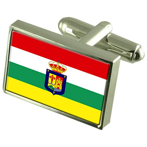 La Rioja Sterling Silver Flag Cufflinks by Select Gifts